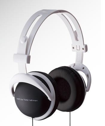 Black headphone with white writing