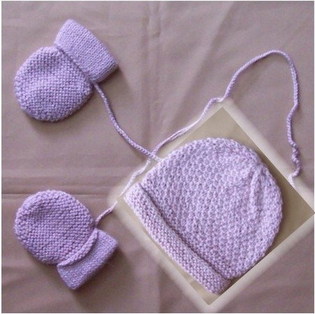 Lot of 10 sets hat + mittens for baby