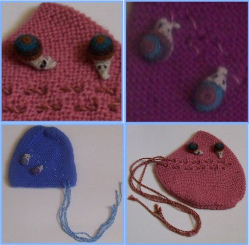 Lot of 10 baby hat adorned with little snails