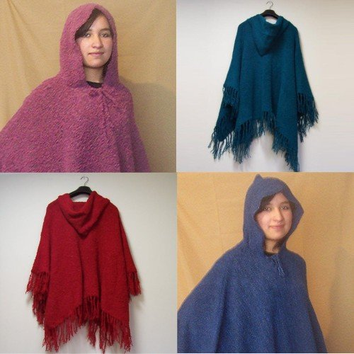 Lot of 10 Boucle Poncho with hood