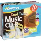 Memorex 700MB/80-Minute Music CD-R Media (Cool Colors, 10-Pack with Jewel Cases) by Memorex