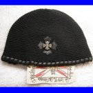 A&G : F6H-C15BLK VINTAGE SILVER CELTIC CROSS CASHMERE BEANIE CAP - BRAND NEW WITH TAGS