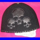 A&G : F6H-C9BLK VINTAGE CEMETARY SKULL CASHMERE BEANIE CAP - BRAND NEW WITH TAGS