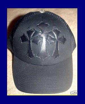 A&G : TC-C8BLK VINTAGE CEMETARY CROSS TRUCKERS CAP - BRAND NEW WITH TAGS