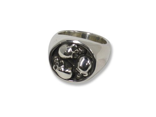 STANLEY GUESS : SGK-116 SILVER ROUND MULTI-SKULL RING - MADE TO ORDER