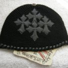 A&G : F6H-C10BLK VINTAGE CEMETARY CROSS CASHMERE BEANIE CAP - BRAND NEW WITH TAGS