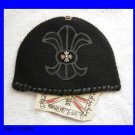 A&G : F6H-C16BLK VINTAGE FLEUR w/SILVER CELTIC CROSS CASHMERE BEANIE CAP - BRAND NEW WITH TAGS