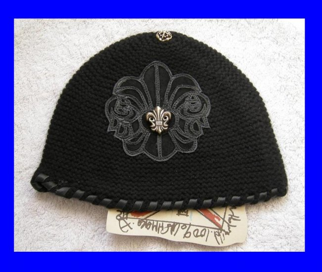 A&G : F6H-C11BLK VINTAGE FANCY SILVER FLEUR DI LIS CASHMERE BEANIE CAP - BRAND NEW WITH TAGS