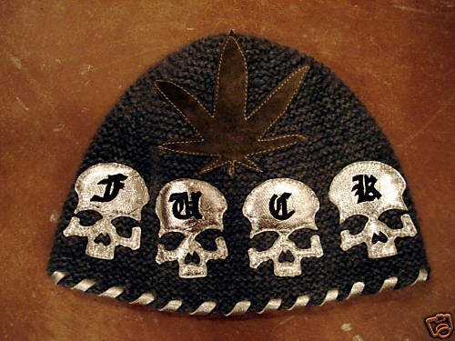 """A&G : F6H-C66MLT LIMITED EDITION """"FXXK"""" SKULL """"420"""" CASHMERE BEANIE CAP - OUT OF STOCK"""