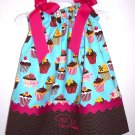 Sweet Tooth Birthday Cupcakes Pillowcase Dress With Hair Bow & Free Monogramming