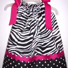 Zebra Print Pillowcase Dress with Hair Bow & Free Monogramming