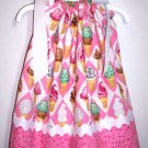 Ice Cream Cone Pillowcase Dress with Free Monogramming and Hair Bow