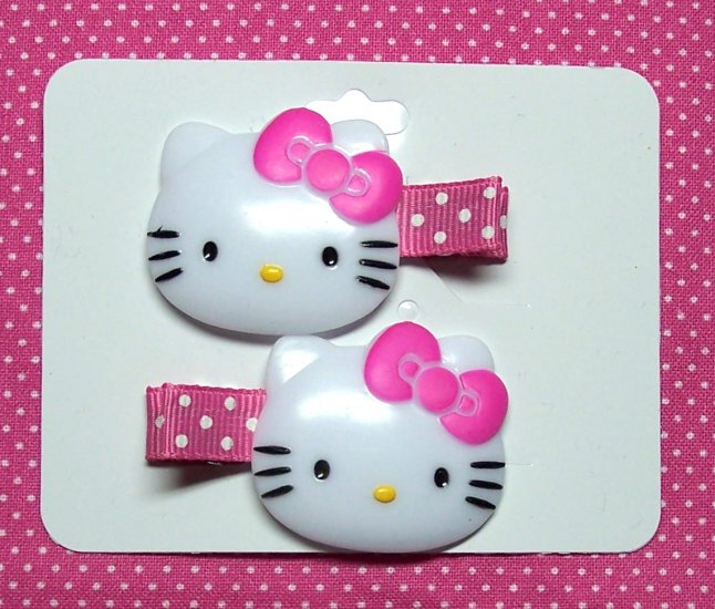 Hello Kitty on Pink Swiss Dots Clippie Pair