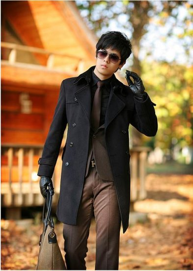 Mens Double Breasted Slim Wool long Peacoat coat BLACK - M/L/XL - Japan / Korea Fashion [Z09101801]