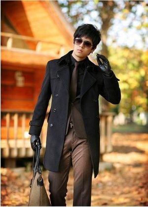 Mens Double Breasted Slim Wool long Peacoat coat BLACK - M/L/XL - Japan / Korea Fashion [Z09101801]