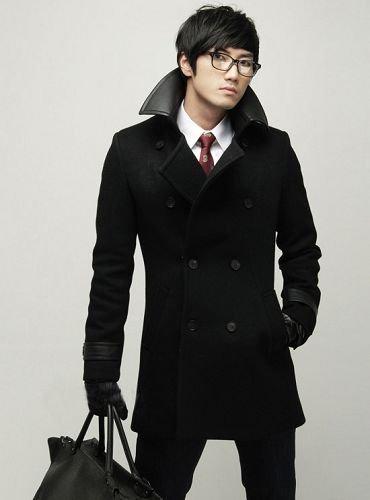Mens Lapel Collar Double Breasted Wool Peacoat coat BLACK - M/L - Japan / Korea Fashion [Y09120629]
