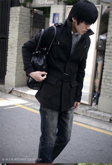 Mens Slim Wool Coat - Stand up collar - BLACK - L/XL - Japan / Korea Fashion [Y09111722]