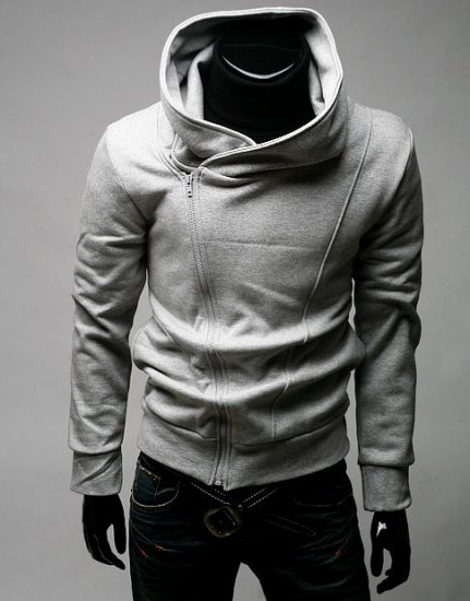 Mens Casual Rider Hoodie side Zipup jacket - GREY - M/L - Japan / Korea Fashion [Y09122801-1]