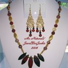ARTISAN NECKLACE & EARRING SET w/Tiger Iron 14kt Gold Poppy & Leopardskin Jasper Swarovski