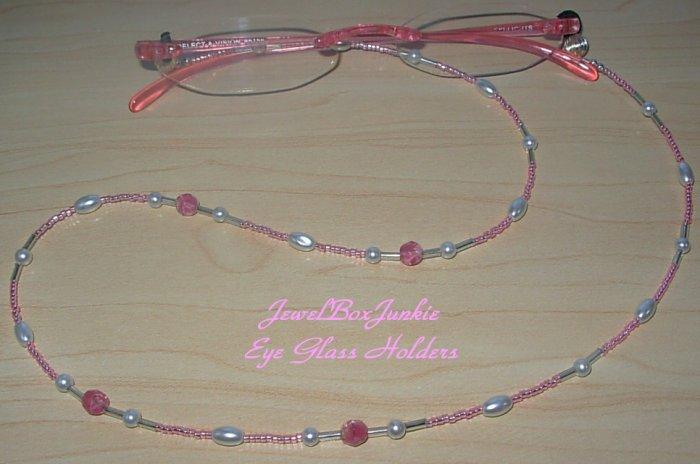 24 inch Beaded EyeGlass Holder w Vintage Glass-Pink