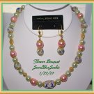 Vintage  Porcelain Bali 14kt Vermeil Glass Pearls Necklace & Earring SET