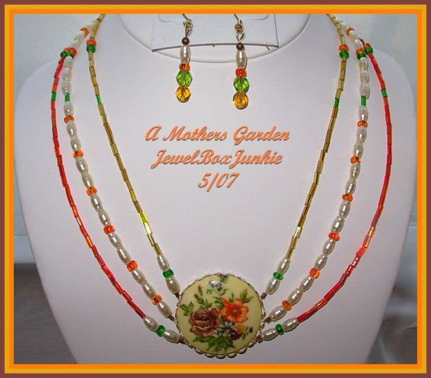 Vintage Focal Floral 3 strand Choker Necklace Earring SET