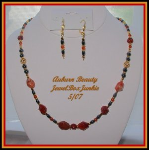 Carnelian Hematite 14 kt Vermeil Necklace Earring SET