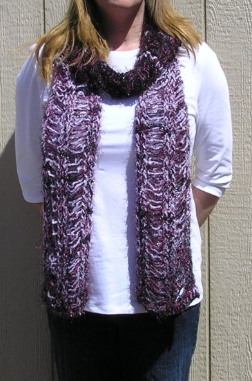 Hand Knitted Scarf # 101 Glittering Night