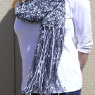 Hand Knitted Scarf # 102 Black & White