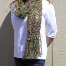 Hand Knitted Scarf # 103 Sage Blooms