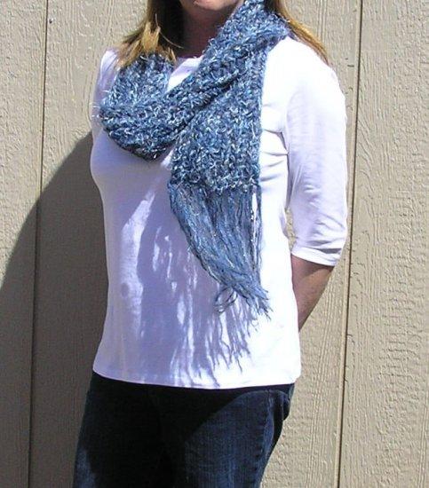 Hand Knitted Scarf # 104 Worn Denim
