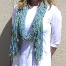 Hand Knitted Scarf # 106 Blue Green w/ X-Long fringes