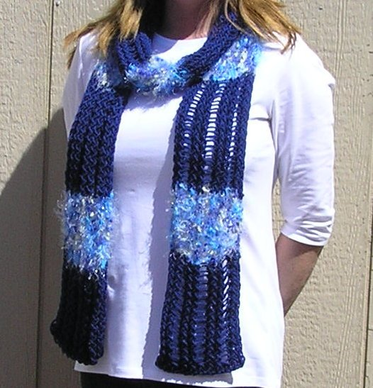 Hand Knitted Scarf # 107 Navy Blue