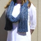 Hand Knitted Scarf # 109 Blue Glitter Mohair