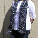Hand Knitted Scarf # 110 Metallic Black and Silver