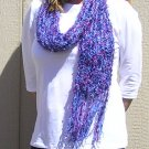 Hand Knitted Scarf # 111 Blue & Hot Pink Chunky