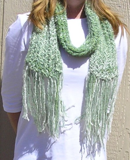 Hand Knitted Scarf # 115 Hosta Lovers