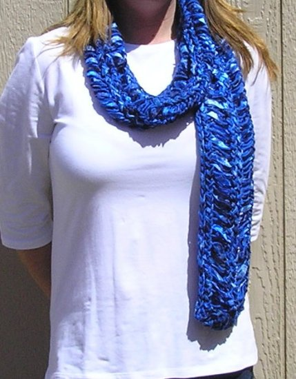 Hand Knitted Scarf # 116 Royal Blues