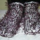 Ladies Slipper Socks white w/ plum eyelash yarn one size fits all