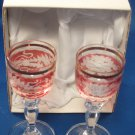 Decorative Pair Of Crystal Goblets From Czech Republic