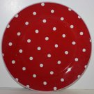 Rosanna Plate Red White Polka Dot Dessert Salad Lunch Stoneware New