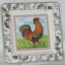 Italian Brunelli Plate Rooster Square Toile Dessert Salad Stoneware Italy New