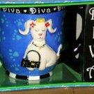 Revelations Blue Diva Mug Lady French Fashion Poodle Embossed Paws Stoneware New