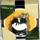 Jennifer Garant Coasters Fat Wine Waiter Absorbent Set 4 in Wood Caddy New