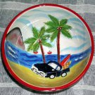 Hand Painted Bowl Hang 10 Retro Chevy Truck Surfboards Beach Palm Soup Salad New