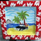 Hand Painted Platter Tray Hang 10 Retro 1950's Chevy Truck Surfboards Beach New