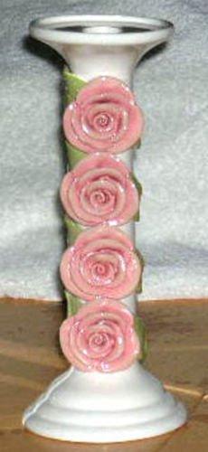 Brenda Holzke Candlestick Holder Pillar Capodimonte Rose Blossoms Stoneware New