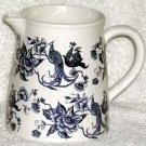 Royal Art Pitcher Toile Victorian Floral Pheasant Blue Stoneware England New