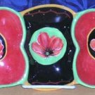 Hausenware Tray Handled Sectional Poppies Condiments Crudites Stoneware New