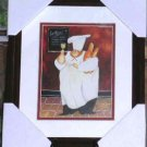 Jennifer Garant Print Framed Double Mat Glass Fat French Wine Bread Chef New